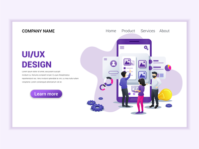 UI UX Design concept illustration programmers development ui elements technology branding ui business concept app icon design landing page ui kit ui design onboarding screens web design flat illustration illustration flat vector