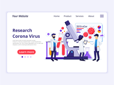 Research covid-19 coronavirus concept illustration laboratory scientist research coronavirus covid-19 ui business concept app icon design landing page ui kit ui design onboarding screens web design flat illustration illustration flat vector