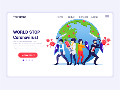 World STOP Covid-19 coronavirus concept illustration virus world stop virus disease covid19 covid-19 coronavirus concept app icon design landing page ui kit ui design onboarding screens web design flat illustration illustration flat vector