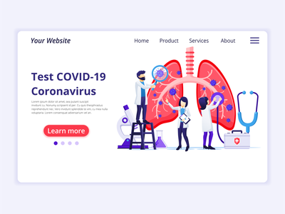 Test Coronavirus from human lungs illustration epidemic illness covid-19 human lungs test coronavirus concept app icon design landing page ui kit ui design onboarding screens web design flat illustration illustration flat vector