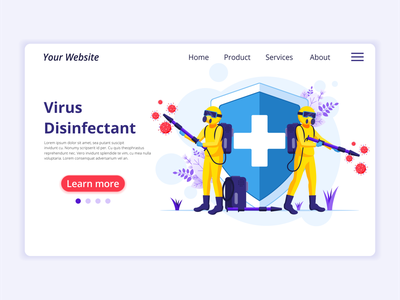 Disinfectant Virus - Covid-19 Coronavirus illustration coronavirus covid19 hazmat suits disinfectant virus disinfectant covid-19 concept app icon design landing page ui kit ui design onboarding screens web design flat illustration illustration flat vector