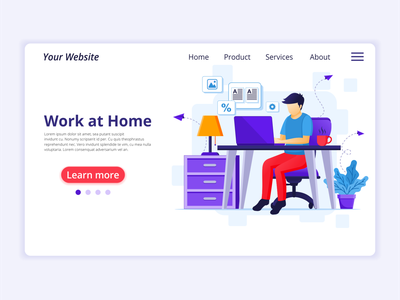 Working from home - Quarantine concept illustration coronavirus covid-19 home at work stay quarantine concept app icon design landing page ui kit ui design onboarding screens web design flat illustration illustration flat vector