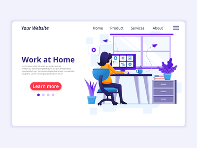 Working from home - Quarantine concept illustration home at stay work quarantine covid-19 coronavirus concept app icon design landing page ui kit ui design onboarding screens web design flat illustration illustration flat vector