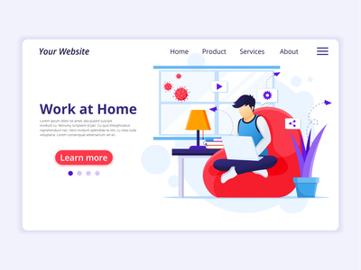 Work from home - Self quarantine concept illustration stay safe workfromhome stay home work quarantine covid-19 coronavirus concept app design landing page ui kit ui design onboarding screens web design flat illustration illustration flat vector