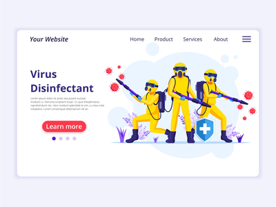 Disinfectant Virus - Covid-19 Coronavirus illustration pandemic virus disinfectant virus hazmat suits disinfectant covid-19 coronavirus concept app icon design landing page ui kit ui design onboarding screens web design flat illustration illustration flat vector