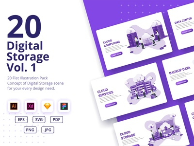 Digital Storage Illustrations Pack Vol. 1 technology digital storage cloud branding ui business concept app icon design landing page ui kit ui design onboarding screens web design flat illustration illustration flat vector