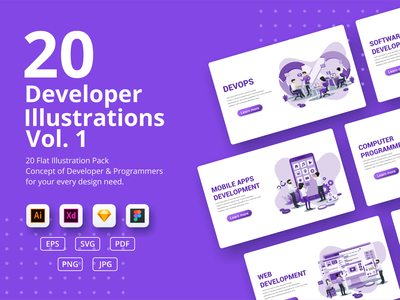 Program Developer illustrations developers devops programmer developer ui elements ui business concept app icon design landing page ui kit ui design onboarding screens web design flat illustration illustration flat vector