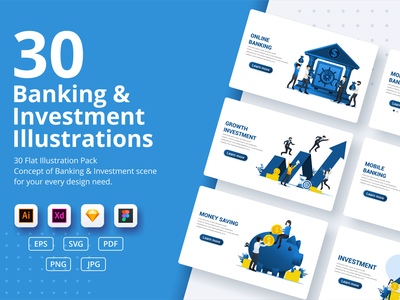 Banking & Investment concept illustrations online mobile investment invest piggy bank banking ui elements ui business concept app design landing page ui design onboarding screens web design illustration flat vector