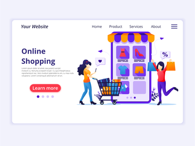 Online Shopping illustration branding ui business concept app icon design landing page ui kit ui design onboarding screens web design flat illustration illustration flat vector