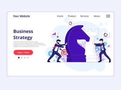 Business Strategy Illustration chess pieces character design chess chessboard marketing strategy ui elements branding ui business concept icon design landing page onboarding screens web design flat illustration illustration flat vector