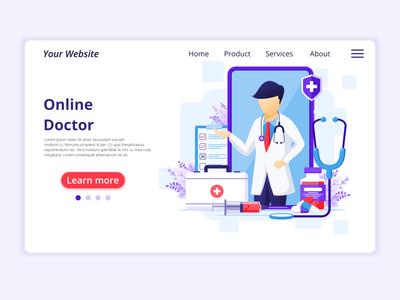 Online Doctor illustration covid-19 concept app icon design landing page ui kit ui design web design flat illustration illustration flat vector health medical smartphone doctor online quarantine coronavirus