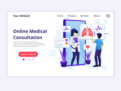 Online Medical Consultation illustration ui business concept design landing page ui design web design flat illustration illustration flat vector health medical pandemic quarantine consultation doctor online covid-19 coronavirus