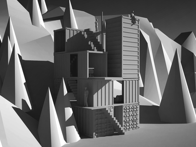 Jenga House architecture container sketchup