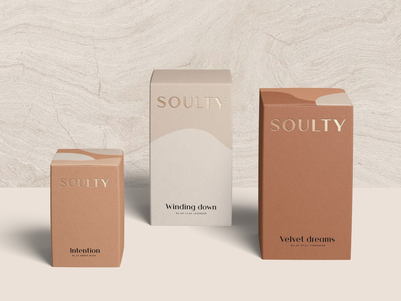 Packaging Design for Soulty label design embossed goldfoil branding concept visual identity abstract organic earthy packaging design logo cosmetics branding