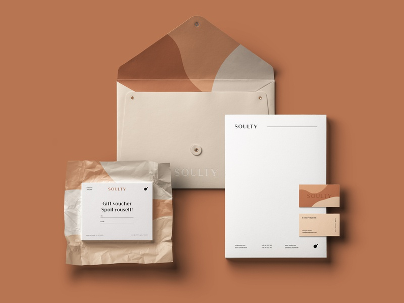 Branding for Soulty beige stationery design branding concept neutral earthy layout logo visual identity branding design branding