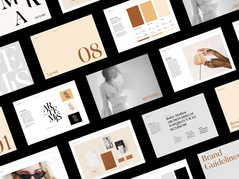 Brand Guidelines for Artemis brand identity layout design identity system identity design brand guidelines brandbook visual identity logo branding
