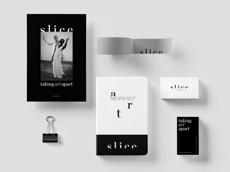 Branding Materials for Slice black and white branding and identity design logotype ai design system minimal layout visual identity logo branding