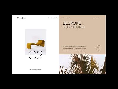 Web Design Layout interior design branding minimal splitscreen layout exploration layout design website ui web design