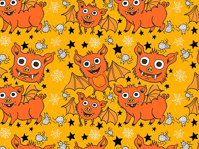 BatPigs kidswear pattern photoshop comic art kids fun character design cartoon children illustration drawing illustration