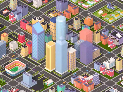 Growing City c4d 3d illustration after effects animated cityscape animation city