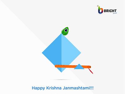 HAPPY KRISHNA JANMASHTAMI FROM BRIGHTPIXEL illustration icon logo design