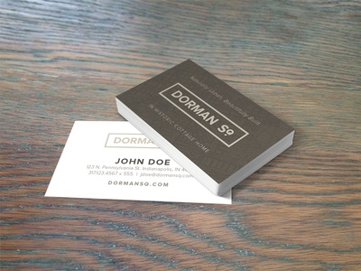 Dorman Sq. Business Card Mock up business card mock up property development