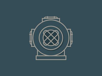 Diver icon deep sea diver illustrator flat old line simple clean