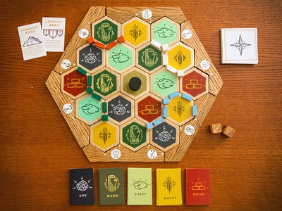 Handmade Catan wood catan boardgame illustrator hand painted icon gift lines line icon minimal woodworking