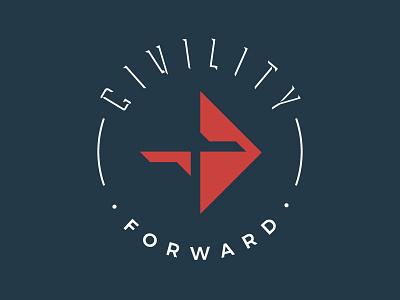 Civility Forward Branding arrow cross christianity justice vector logo typography design icon illustrator branding