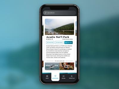 Travel App planner acadia national park travel travel app dailyuichallenge dailyui adobe xd user interface ux ui