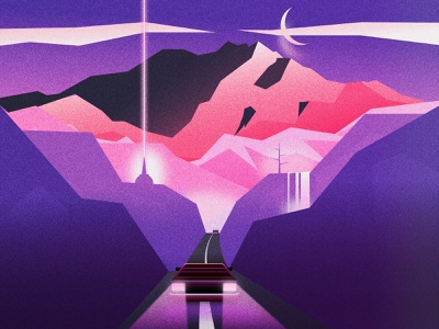 Night Chasers vectorart grainy runaway landscapes mountains retrowave 80s style 80s design affinitydesigner affinity vector illustration design blue purple synthwave outrun illustration flat minimal