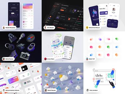 Top Nine of 2020 💥 dark illustraion best shot piqo weather 3d ux top nine 2020 trend 2020 website illustrator minimal web app icon vector ui illustration design