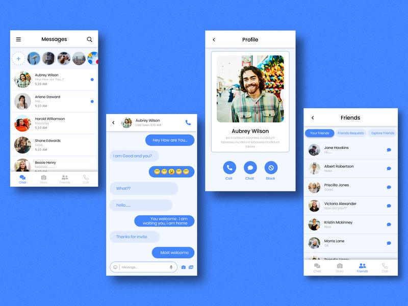 Messenger App. UI Design branding design app typography minimal ux ui
