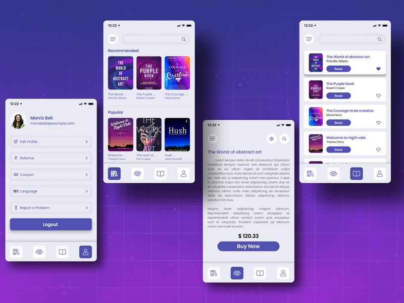 e-Book App Concept logo website illustration typography design minimal branding ui ux app