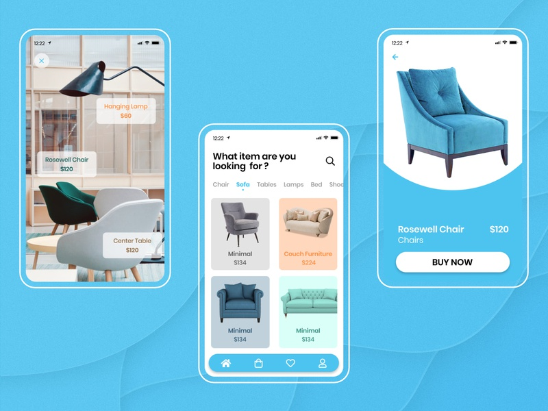 Furniture App - UI website icon typography minimal branding app ui