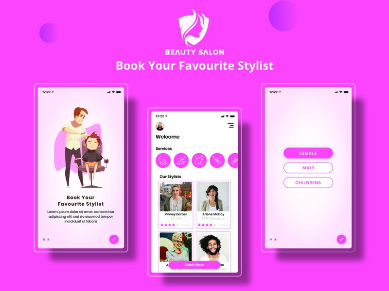 Salon App Concept typography illustration app ux design branding ui