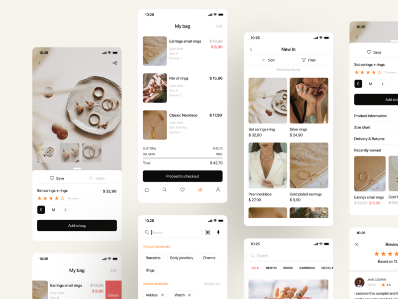 Jewelry - Mobile App search shopping bag shopping app shopping ios mobile design jewelry jewellery fashion app ecommerce app
