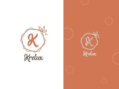 Krelux Cosmetic Logo minimal apricot orange cosmetic cosmetic logo cmpany logo typogaphy logotype logo design illustration vector identity identity design branding design branding