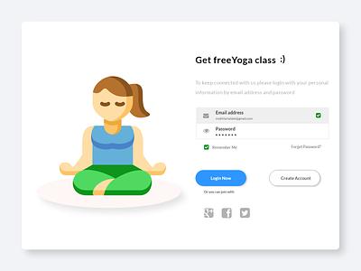 Enroll in yoga class art illustrator vector app icon ux ui web illustration design