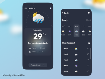 weather app dark mode dark app dark ui 3d icon vector app ux ui design