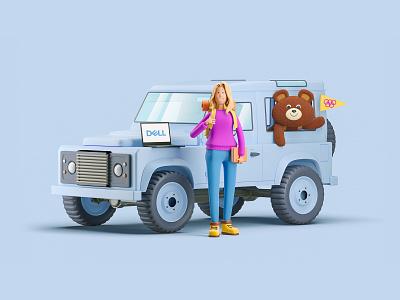 Сommercial illustration for Dell x Lenta.ru tourist clean defender landrover girl character design creative design character illustration cartoon 3d