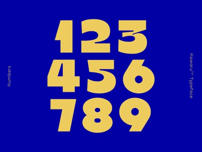 Numbers from Kawaru™ Typeface graphicdesign variablefont typography yellow blue glyphsapp typeface type kawarutypeface numbers typedesign