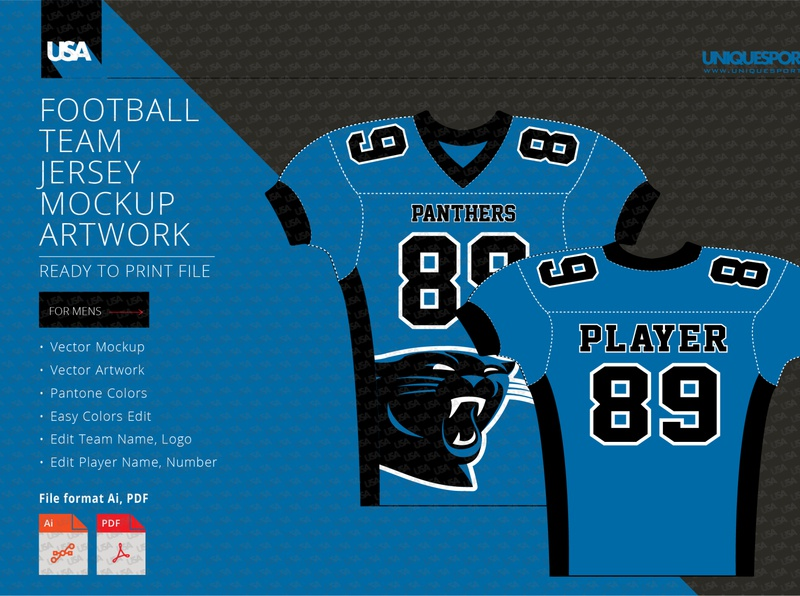PANTHERS FOOTBALL COMPRESSION JERSEY DESIGN MOCKUP