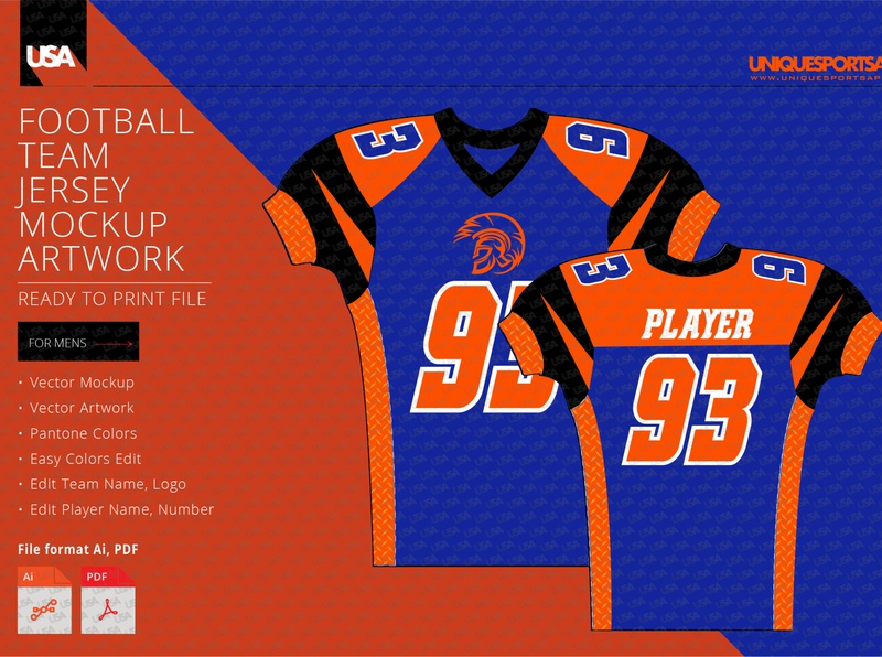 WARRIORS FOOTBALL COMPRESSION JERSEY DESIGN MOCKUP