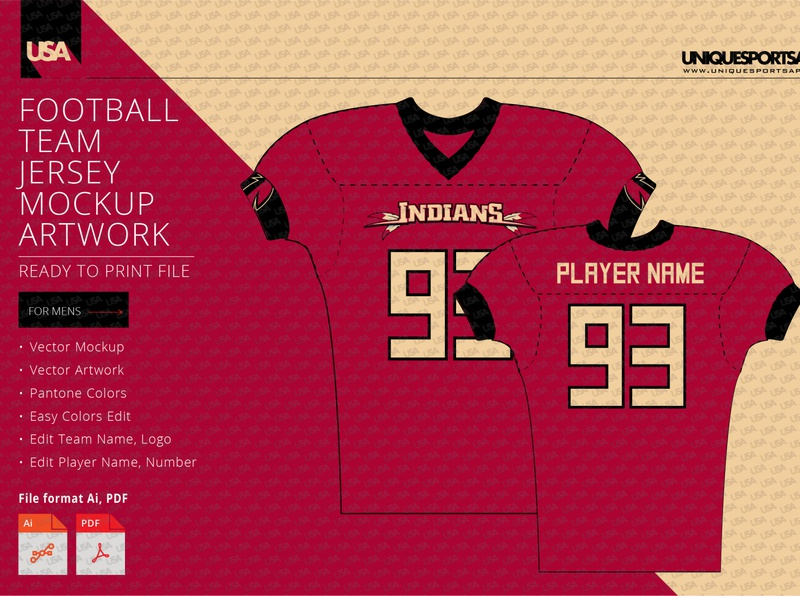 INDIANS FOOTBALL COMPRESSION JERSEY DESIGN MOCKUP