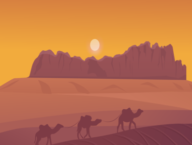 Camels in desert illustration sand clock hot climate sand dunes desert camel