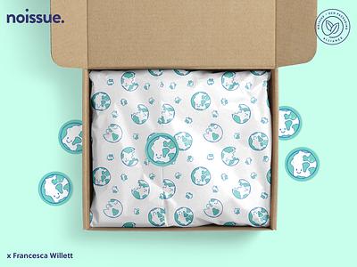 Illustrated noissue Tissue design by @franwillett pattern design print design logo graphic design branding packaging illustration design