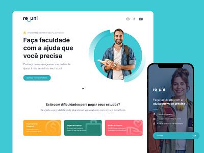 Branding + UI - Projeto Re_uni illustration app website logo branding ui