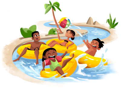 Huffington Post – Lazy River pool lazy river kids parents characters 2d texture illustration
