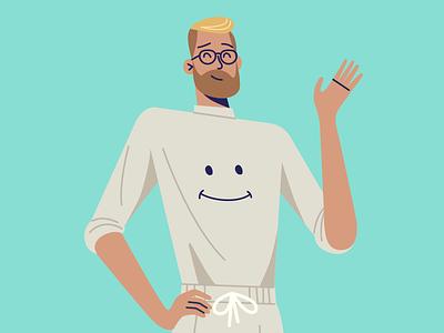 It me character waving selfie self portrait character design flat illustration illustrations 2d